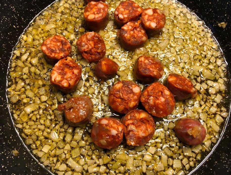 Recette pois chiches au chorizo frit 4