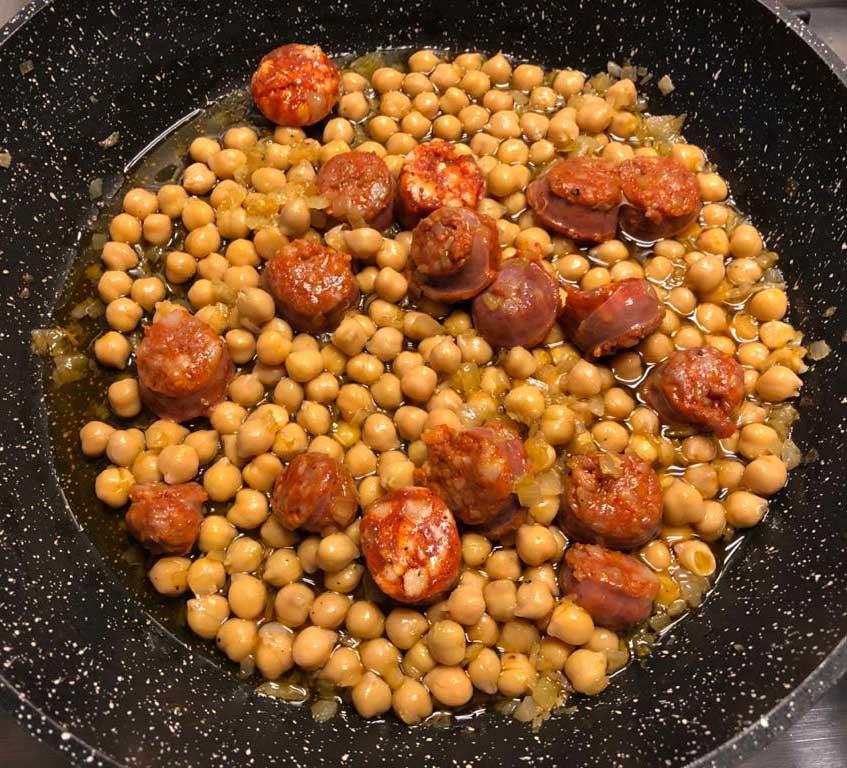 Recette pois chiches au chorizo frit 5